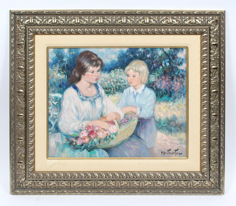 Antique French Impressionist Portrait Painting Gathering Flowers Oil Painting For Sale 1