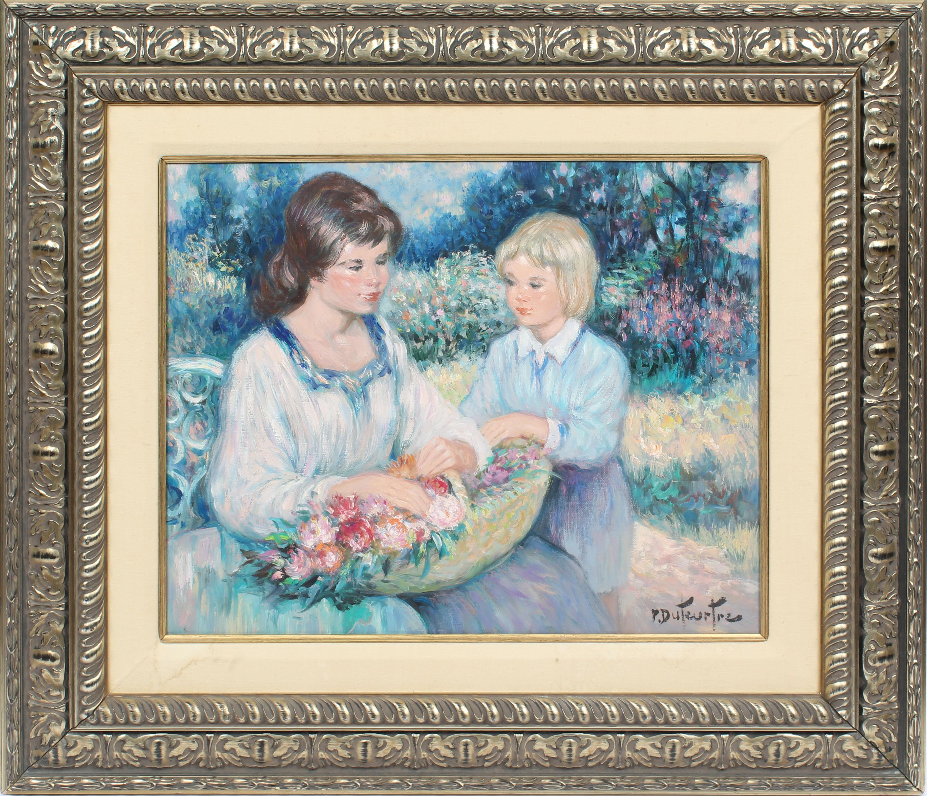 Antique French Impressionist Portrait Painting Gathering Flowers Oil Painting