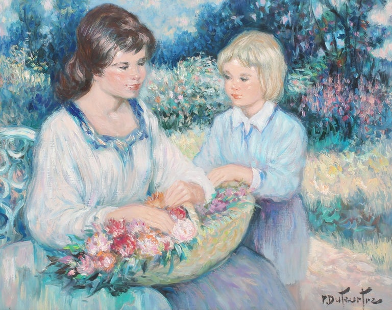 Antique French Impressionist Portrait Painting Gathering Flowers Oil Painting For Sale 2