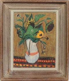 Antique American Modernist Still Life Sunflowers Original Exhibited Oil Painting