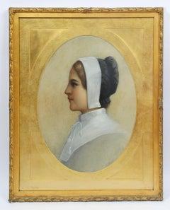 Antique American Portrait Maiden Original Gold Frame Pastel Painting Marlatt