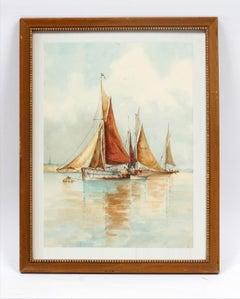 Hudson River School NY Harbor Painting Framed Monogrammed J.W.