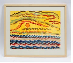 Toma Yovanovich Mid Century Abstract Landscape Colorful Watercolor Painting