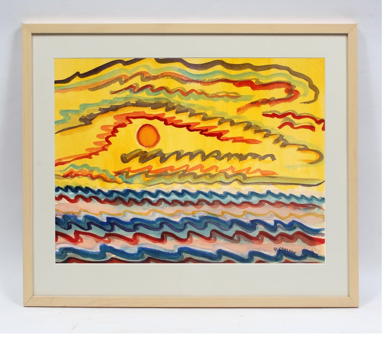 Toma Yovanovich Mid Century Abstract Landscape Colorful Watercolor Painting  - Art by Toma Yovanovich
