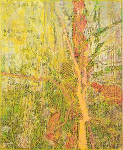 Tree #3 - Abstract Art, Modern Art, Contemporary, Oil Paint, Forest, yellow