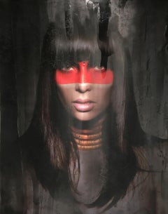 Tribe 5 - Female Portrait, Contemporary Art, Figurative, Woman, Beauty, red