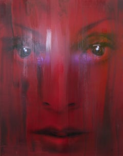 Aurief - red, Contemporary Art, Figurative Art, Portrait, Female, Woman, Paint