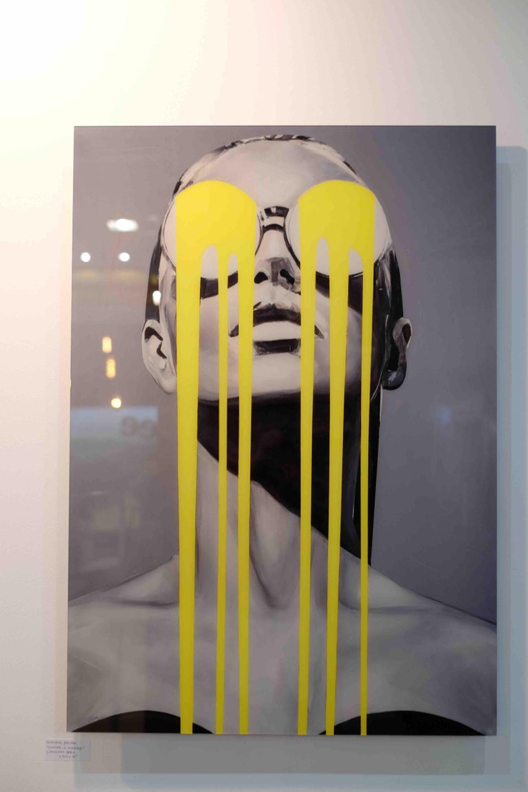 Illumination-Figurative, Pop Art, Contemporary art, Female Portrait, Edyta Grzyb - Brown Portrait Print by Edyta Grzyb