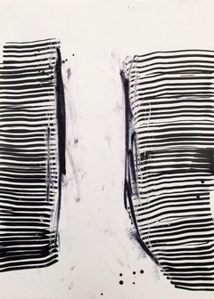 Longing for South - Abstract Expressionism, black white painting, Contemporary