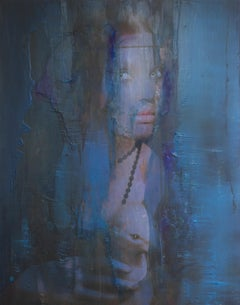 Leonardo -blue, Contemporary Art, Figurative Art, Portrait, Female, Woman, Paint