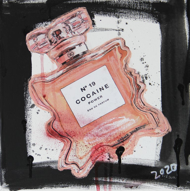 Kristin Kossi Still-Life Painting - Nr. 19 Cocaine Power- powder, pink, expressive, Contemporary, Pop Art, Chanel