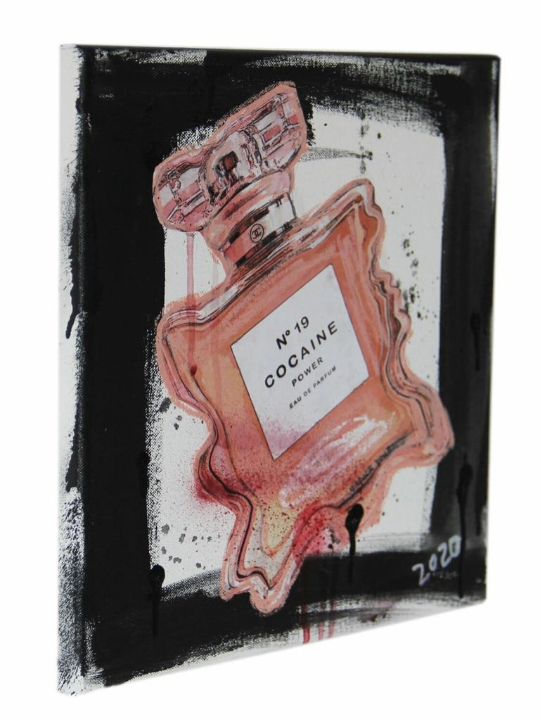 Nr. 19 Cocaine Power- powder, pink, expressive, Contemporary, Pop Art, Chanel  - Painting by Kristin Kossi