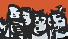 crowd#1 - Pop Art Painting, Neo Pop, orange, 21stC., modern art, abstract art