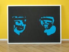 Blue Faces - Pop Art Painting, Neo Pop, 21stC., modern art, abstract artwork