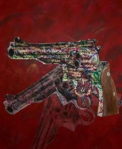 The Process - Pop Art, Pistols, Popart, 21stC., Contemporary Art, Painting, Gold