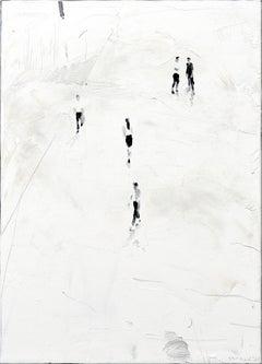 Lightning - Minimalist, Figurative, Oil Paint, Painting, 21st Century, White