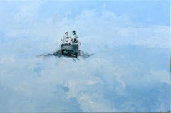 Waiting - Minimalist, Oil on Canvas, 21st Century,  Figurative Painting, White