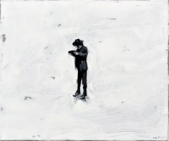 Lonely Cowboy - Minimalist, Oil on Canvas, 21st Century, Figurative Painting