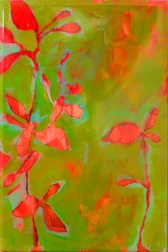 Astwerk 437 - Minimalist, Acrylic, Resin on Wood, 21st Century, Floral Painting