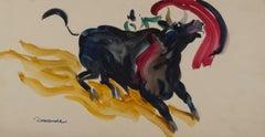 Bull engaging the muleta (Bull Fight)