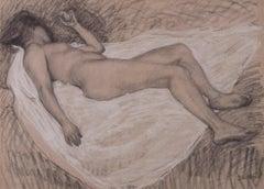Femme nue de dos allongee