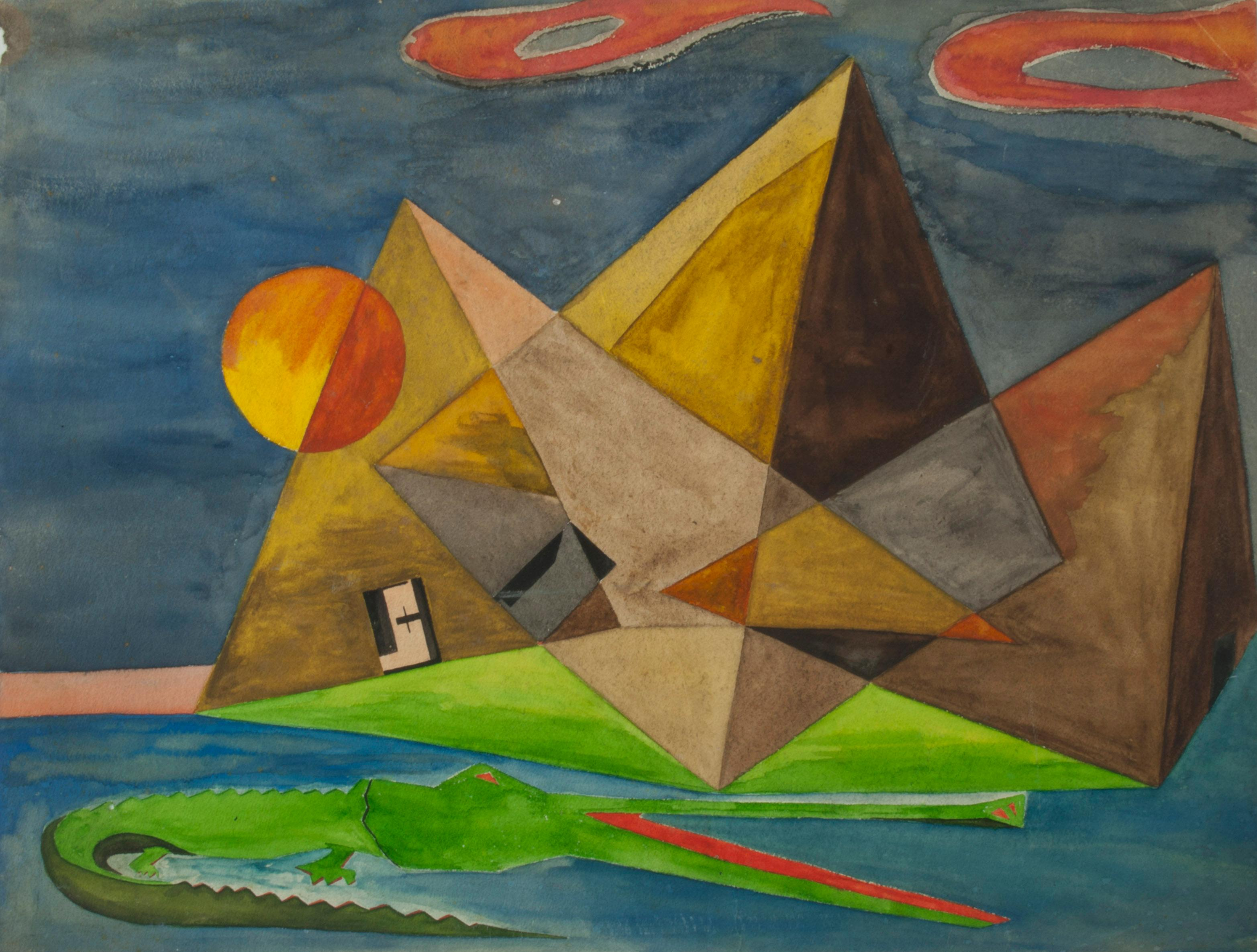 Untitled (Surrealist rendering of Pyramids at Giza with alligator)