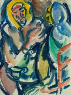 Untitled (Double sided watercolor)  Recto: Figures seated at a table