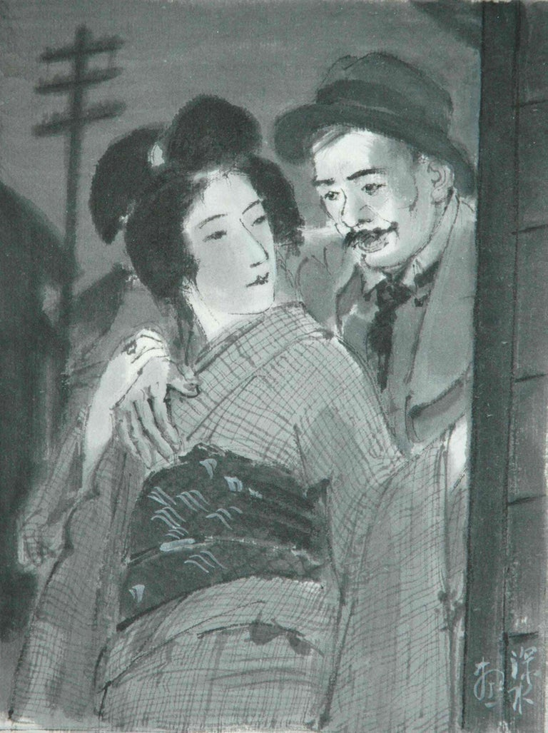 Ito Shinsui Figurative Art - Couple Embracing in Street at Night