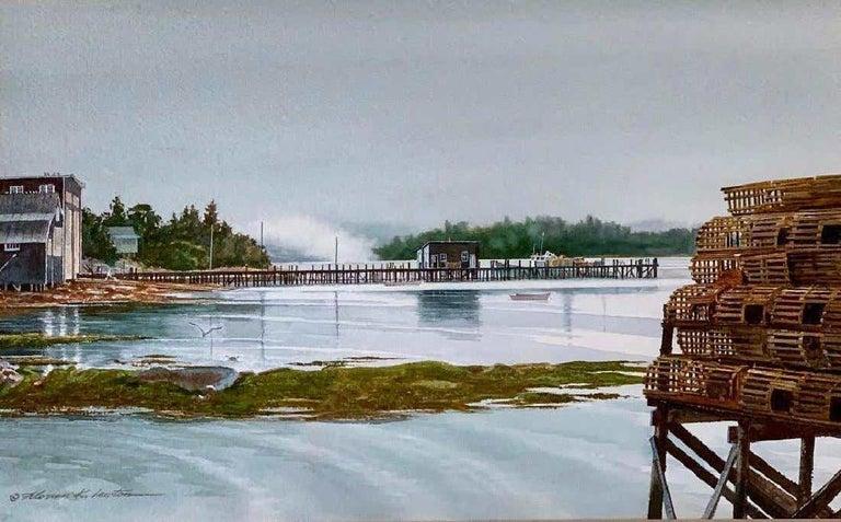 Florian K. Lawton Landscape Art - Outgoing Fog (South Bristol, Maine)