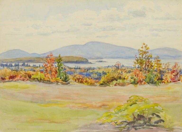 Greta Allen Landscape Art - untitled (Maine Landscape across Mt. Desert Narrows)
