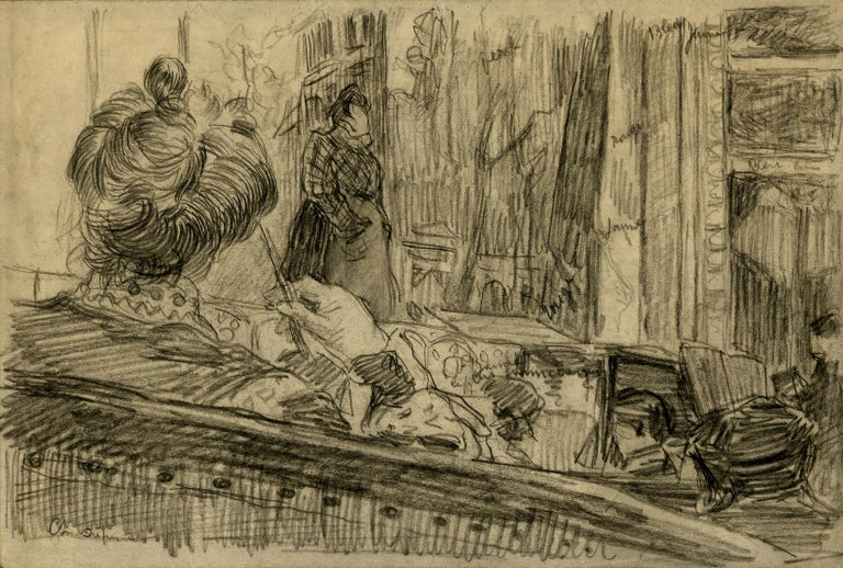 Charles Dufresne Interior Art - Loge de Theatre (Preliminary study for a painting)