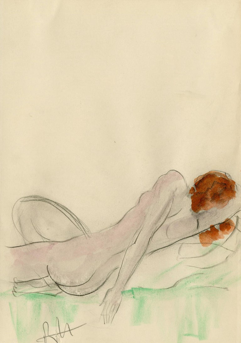 Boris Lovet-Lorski Figurative Art - Reclining Female Nude