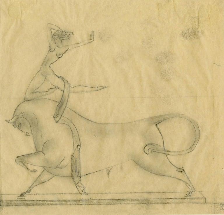 Boris Lovet-Lorski Figurative Art - Preliminary study for Cretan Dancer bronze sculpture