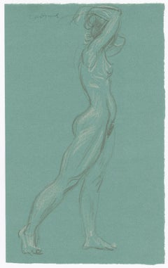 Double sided drawing: Standing Female Nude in Profile, Verso: Standing Female