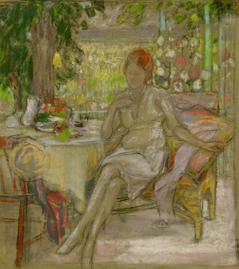 Karl Albert Buehr Figurative Art - Woman on a Patio