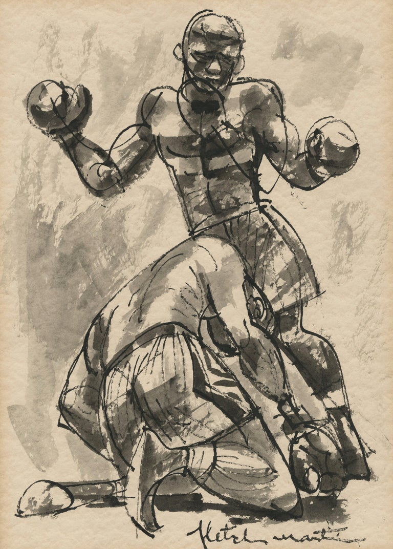 Fletcher Martin Figurative Art - Untitled (Joe Louis knocking out Max Schmeling in 1938 rematch)