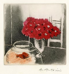 Holiday Greeting Card for Madame R. G. Michel & Family (Goldfish in bowl, vase
