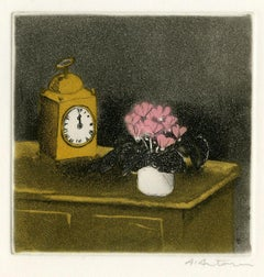 Holiday Greeting Card for Madame R. G. Michel & Family (Carriage Clock, Vase