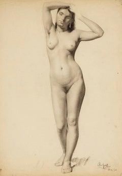 Academic Study of Female Nude, Arms Raised