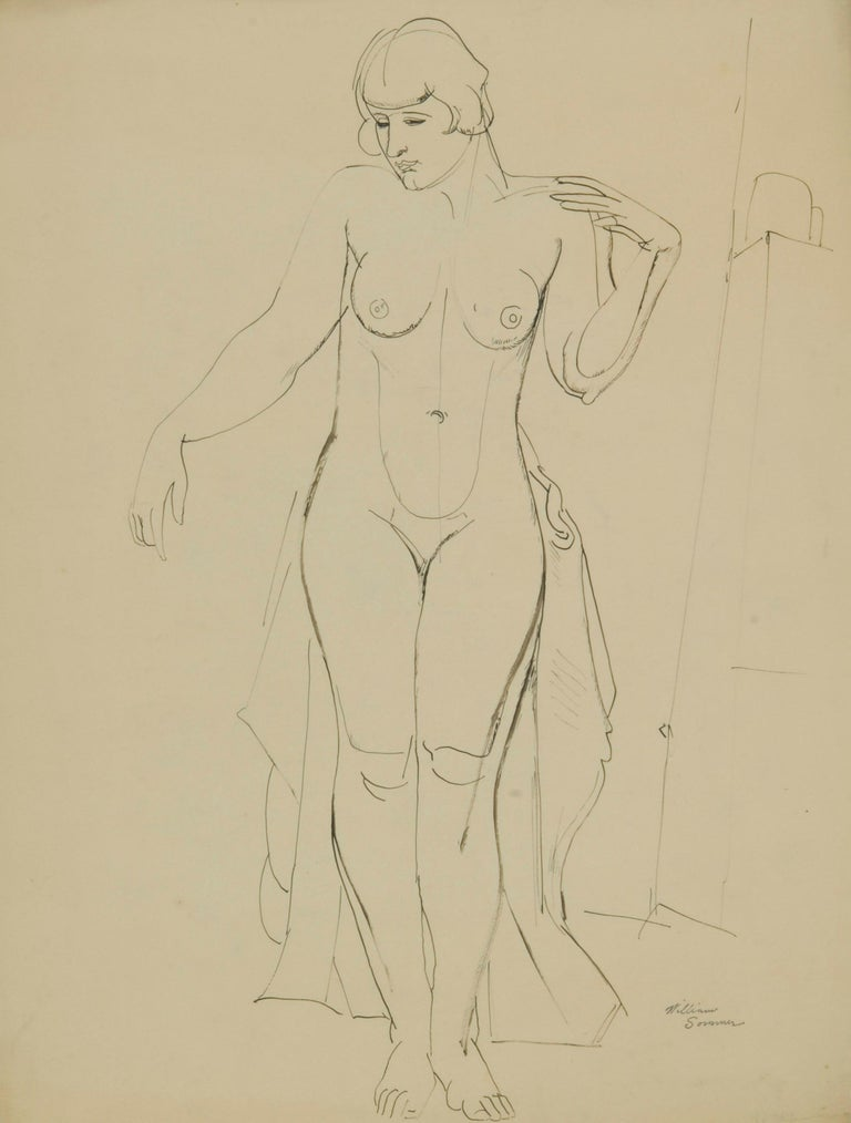 Standing Female Nude - Art by William Sommer