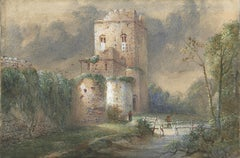 Unknown title (castle with wall, stream and footbridge)