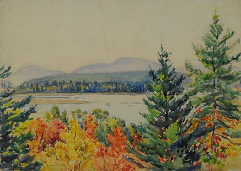 Greta Allen Landscape Art - untitled (Maine Autumn Landscape across the narrows from Mt. Desert)