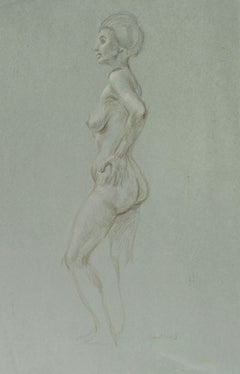 Standing Female Nude in Profile, hand on hip