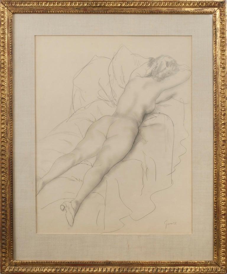Reclining Female Nude - American Impressionist Art by Emil Ganso