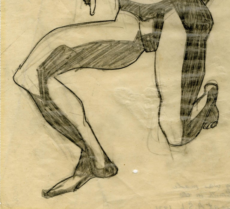 Untitled (Kneeling Male Nude) Graphite on paper, c. 1930 Unsigned Annotated in pencil verso: