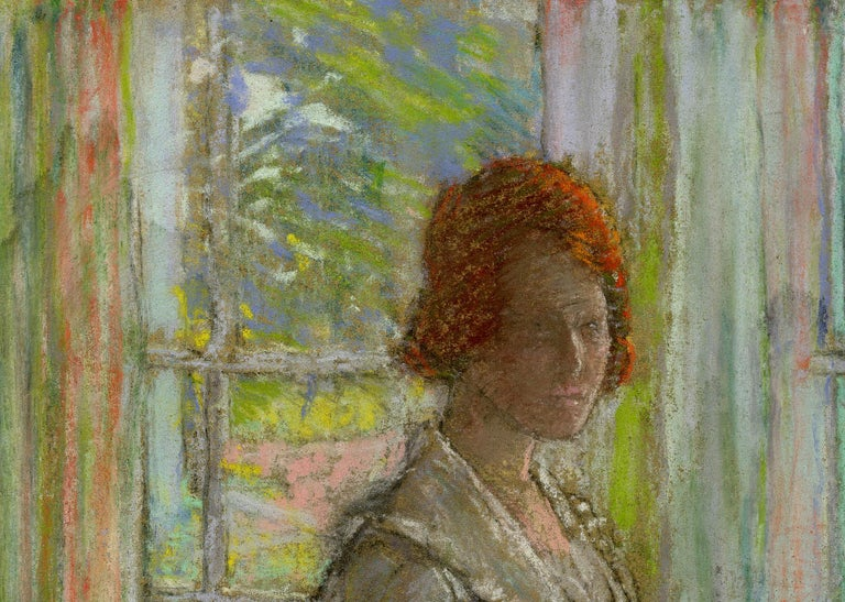 untitled Woman by the Windows - Brown Portrait by Karl Albert Buehr