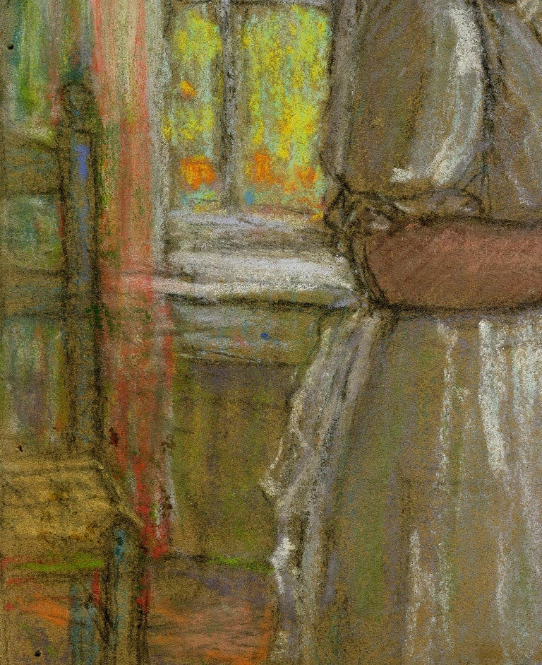 Untitled (Woman by the Windows) Unsigned. Pastel on board, c. 1915 Created while the artist was in Giverny, France Provenance: Gift of the artist to his wife, Mary Hess Buehr by Descent to the artist's niece, daughter of Will Hess. David
