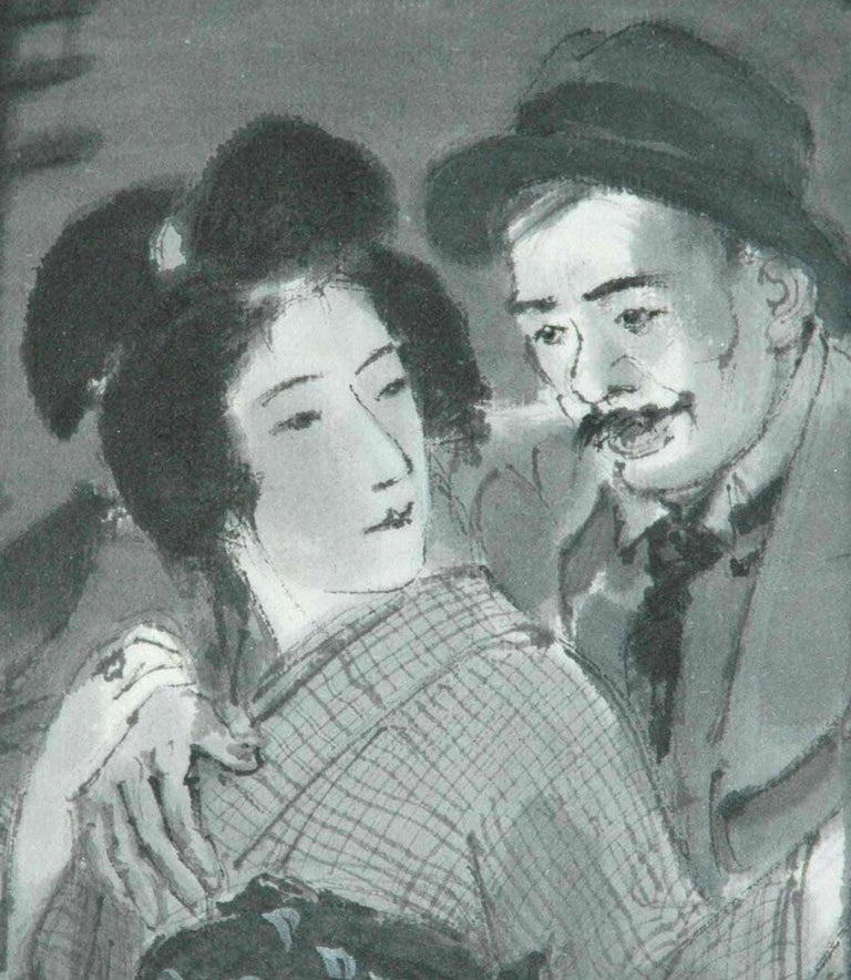 Couple Embracing in Street at Night - Art by Ito Shinsui