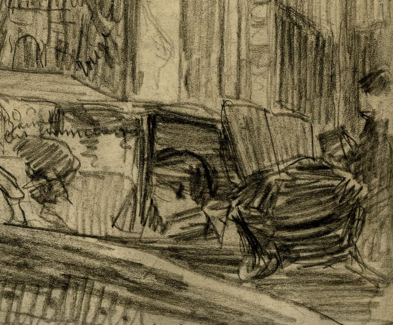 Loge de Theatre (Preliminary study for a painting) Graphite on paper Signed in pencil lower left Annotated with color notations by the artist (see photo) A early Parisian theme work by the artist Framed in a gold leaf frame, with linen matting and
