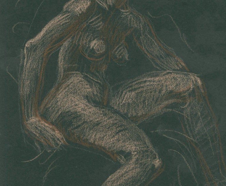 Seated Female Nude Colored chalks on Black Strathmore paper c. 1969-1970 Signed upper right corner: Cadmus (see photo) In 1941, Fidelma Cadmus (Paul's sister) married Lincoln Kirstein, the co-founder of the New York City Ballet. Lincoln was general